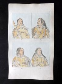 Catlin 1857 HCol North American Indian Print. Native American Portraits 29-31